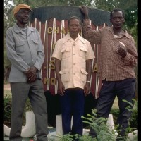 Members of the Sukuma Research Committee: Deogratias Makalanga, Philippo Ibarabara, and Musa Shabo Lubatula (now deceased assistant of Ibogo Megi) May 30, 1995, Sukuma Museum, Bujora village